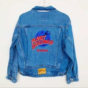 VINTAGE Planet Hollywood Dallas Denim Jacket M 90s